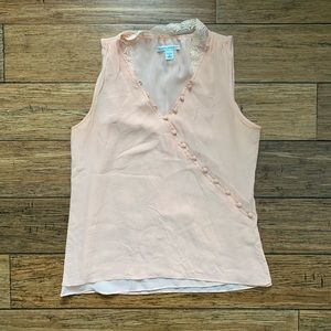 Peach Feminine Button and Lace Camisole Shell